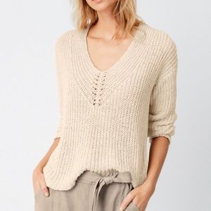 Eileen Fisher Organic Cotton Linen Blend Sweater L